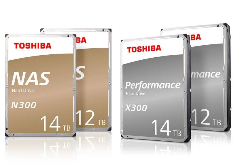 Toshiba Expands N300 and X300 Line with 12TB and 14TB HDDs