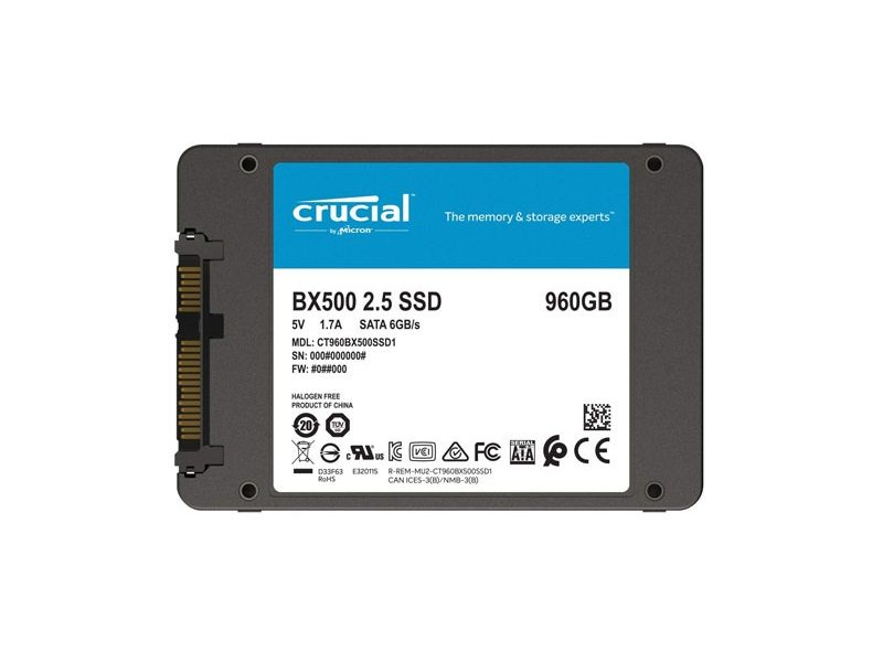 Crucial Adds 960GB Capacity Option to BX500 SSD Line