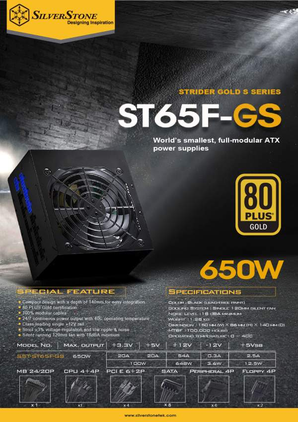 SilverStone Announces 550W and 650W Strider Gold S PSUs
