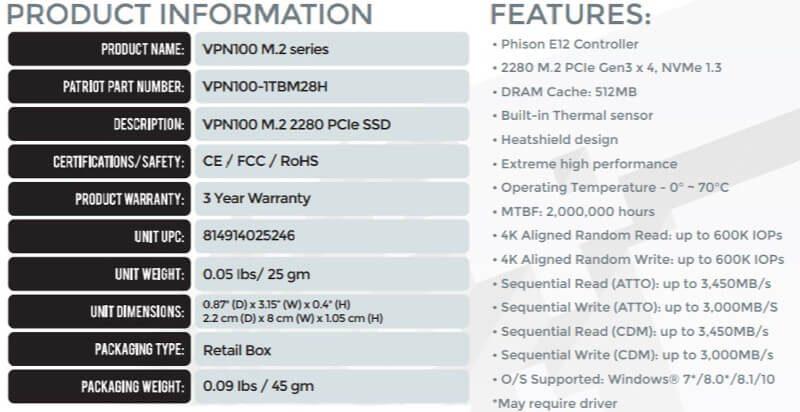 Patriot Viper VPN100 1TB SS specs