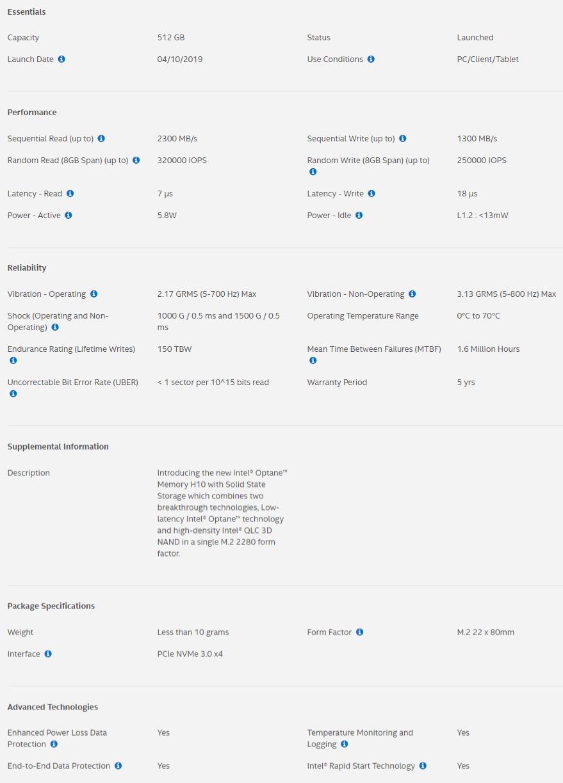 Intel Optane Memory H10 SS specs