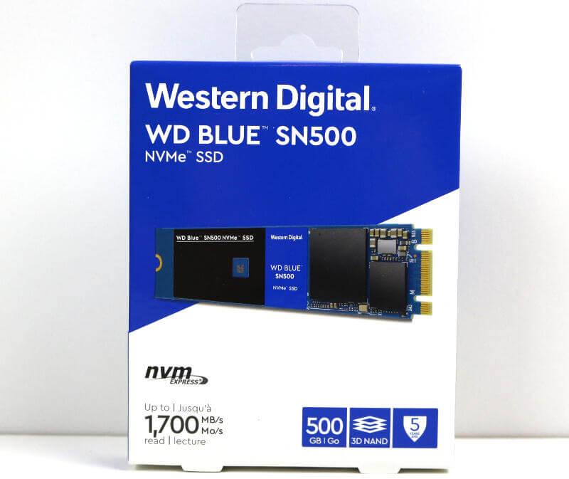 WD Blue SN500 500GB Photo box front