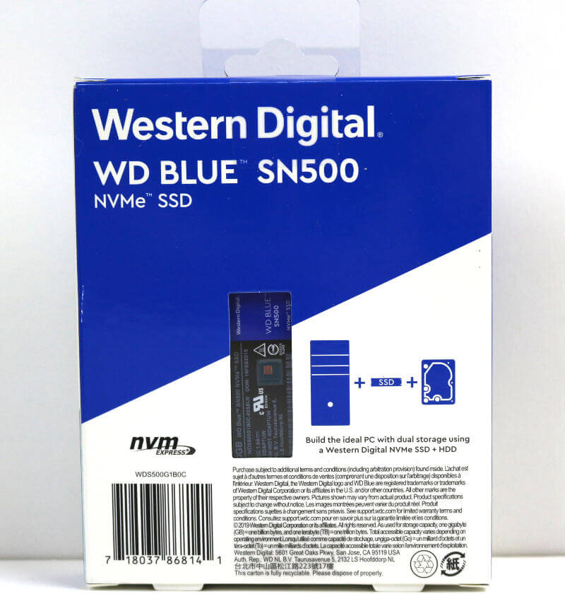 WD Blue SN500 500GB Photo box rear