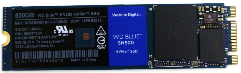 WD Blue SN500 500GB Photo view top