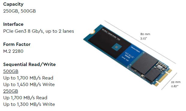WD Blue SN500 500GB SS specs