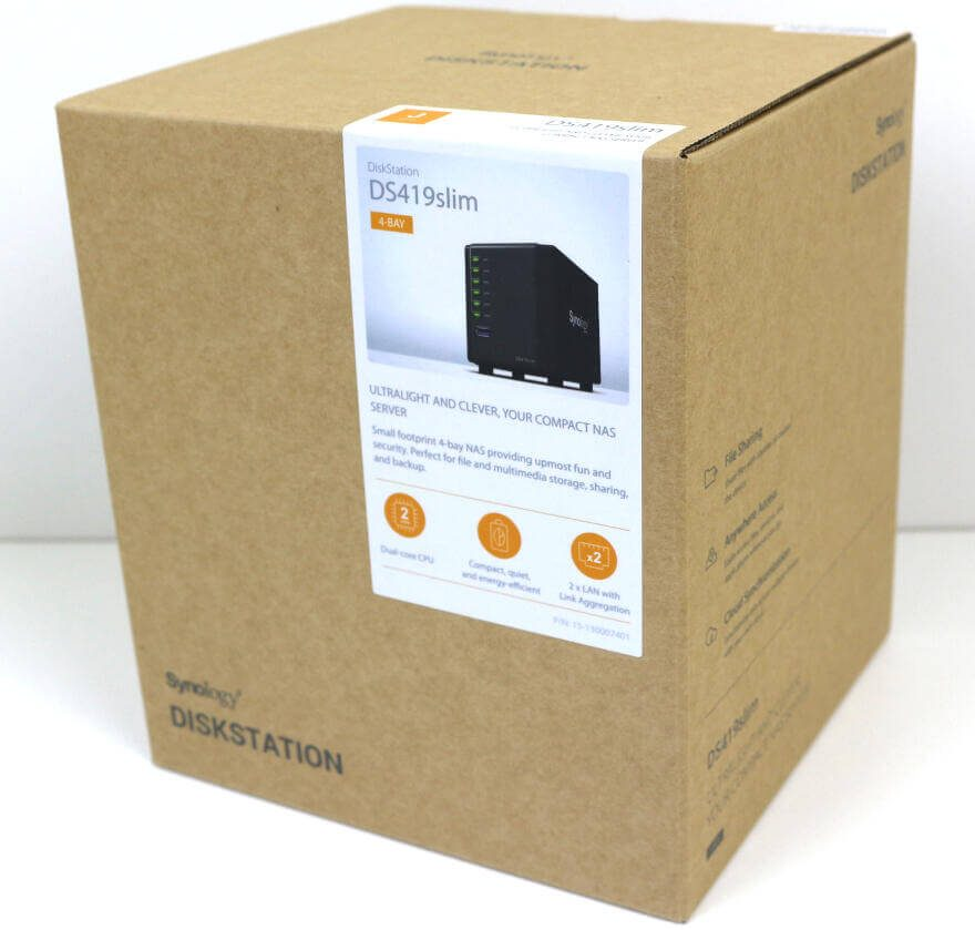 Synology DS419slim Photo box front angle