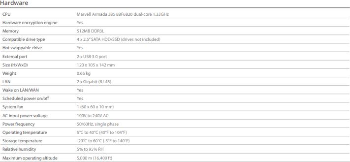 Synology DS419slim SSspecs 1 hardware