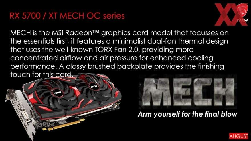 MSI RX 5700 With Custom Cooler Arriving in August