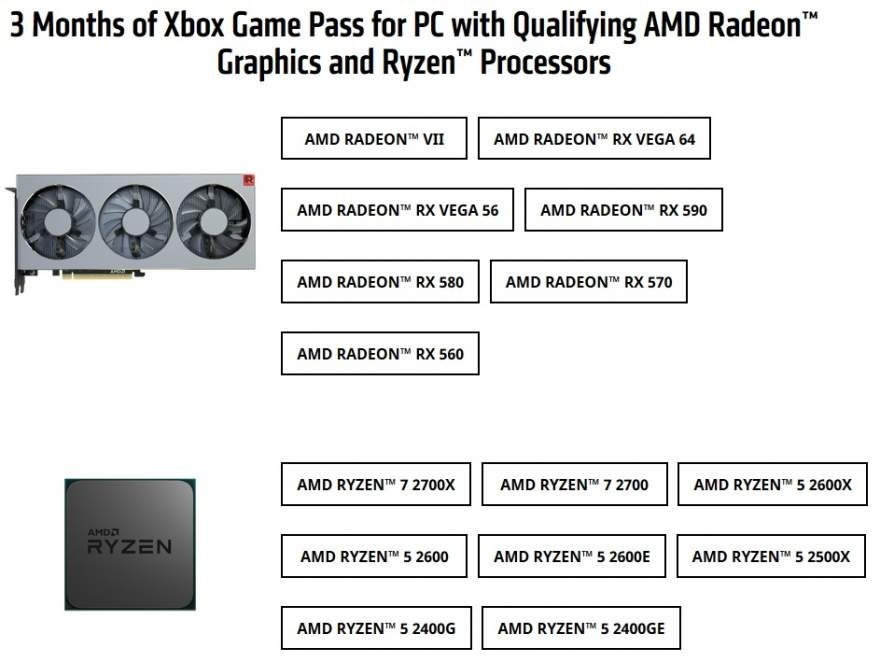 AMD Bundles 3-Month Xbox Game Pass with CPU or GPU Purchase