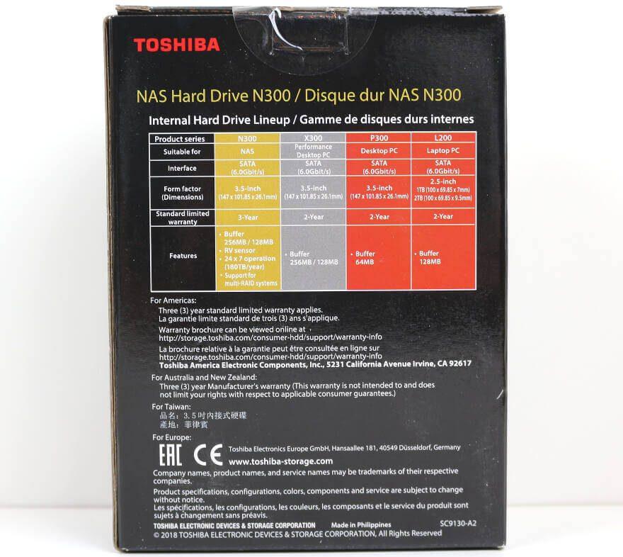 Toshiba N300 10TB NAS Photo box rear