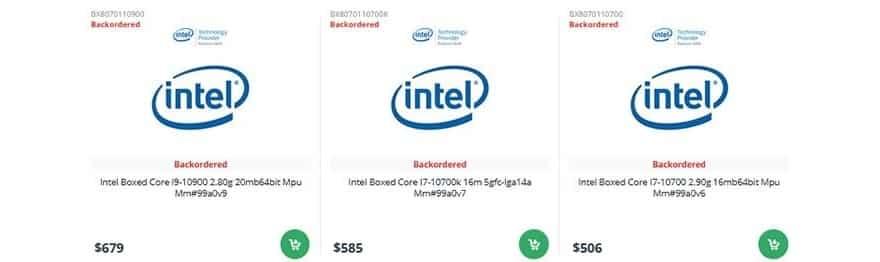 intel comet lake-s price