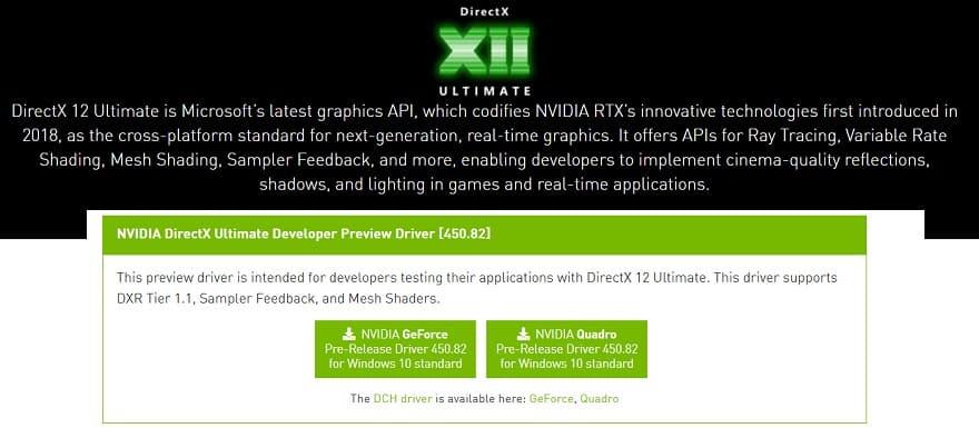 nvidia directx12 ray tracing driver
