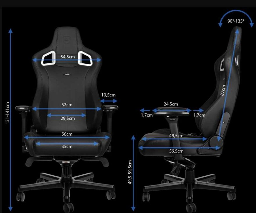 noblechairs epic black edition dimentions