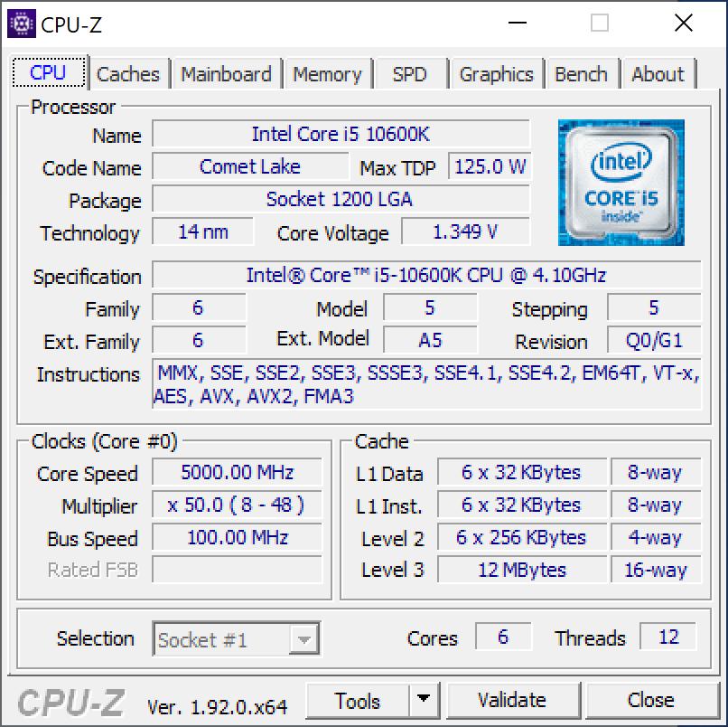 Intel Core i5 10600k 1.34v 1