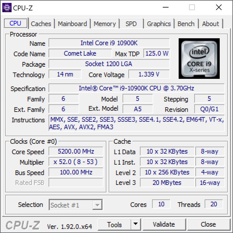Intel Core i9 10900k 1.335v 1