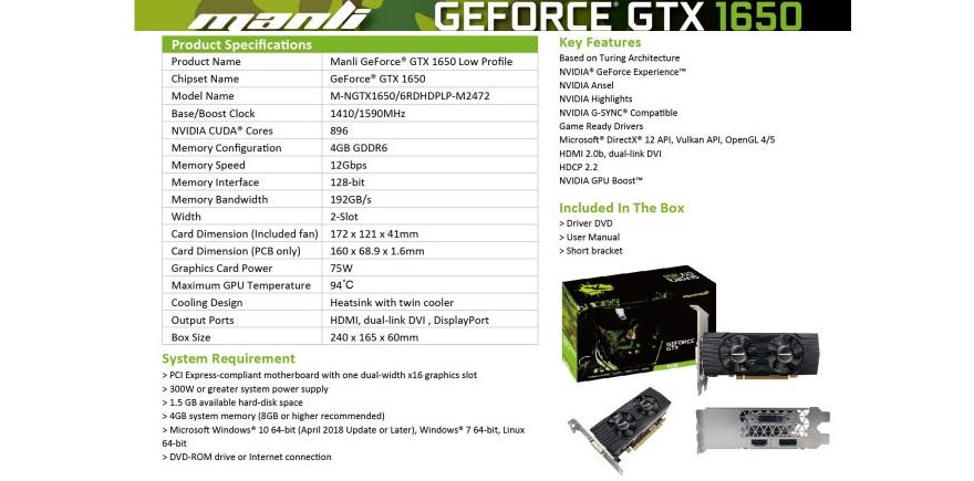 manli nvidia gtx 1650 low profile