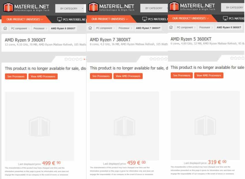 Ryzen 9 3900XT, Ryzen 7 3800XT & Ryzen 5 3600XT Spotted at Online Retailer