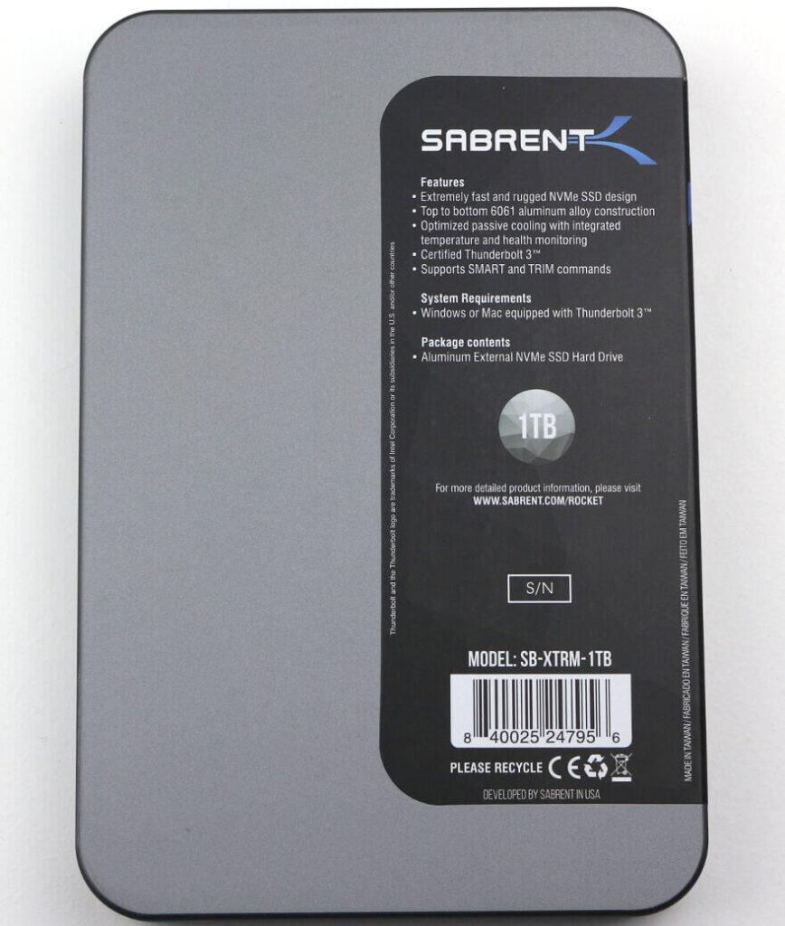 Sabrent Rocket XTRM 1TB Photo box 6 rear 1