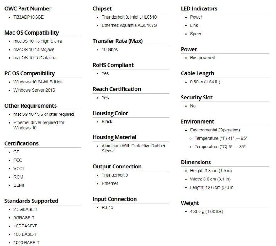 OWC 10 Gigabit Thunderbolt 3 Ethernet Adapter