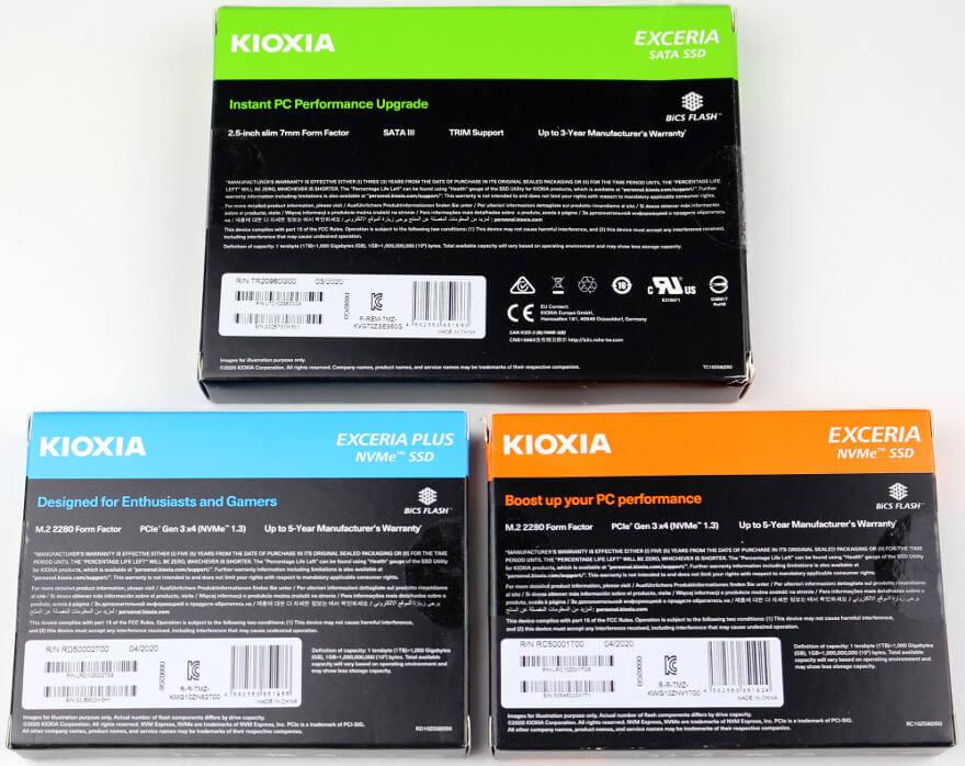 Photo Kioxia Exceria boxes rear