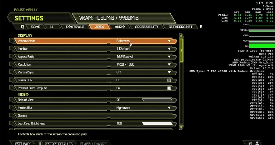 AMD Ryzen 7 4700G doom eternal