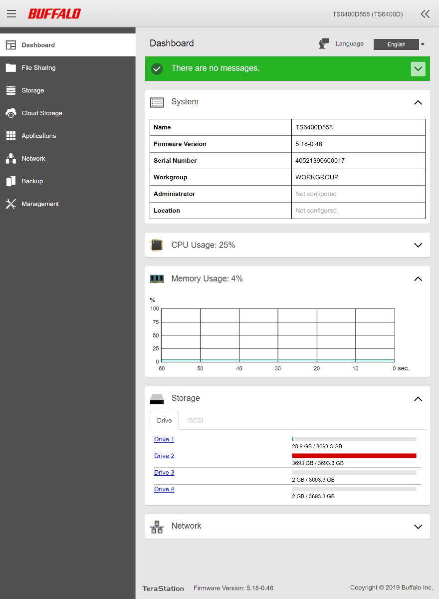 Buffalo TeraStation OS SS 0 General dashboard resorted