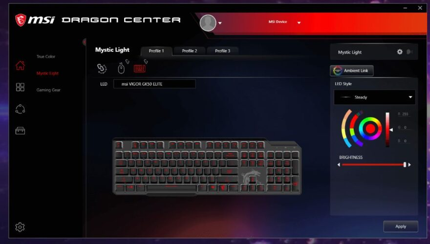 msi gk50 elite software