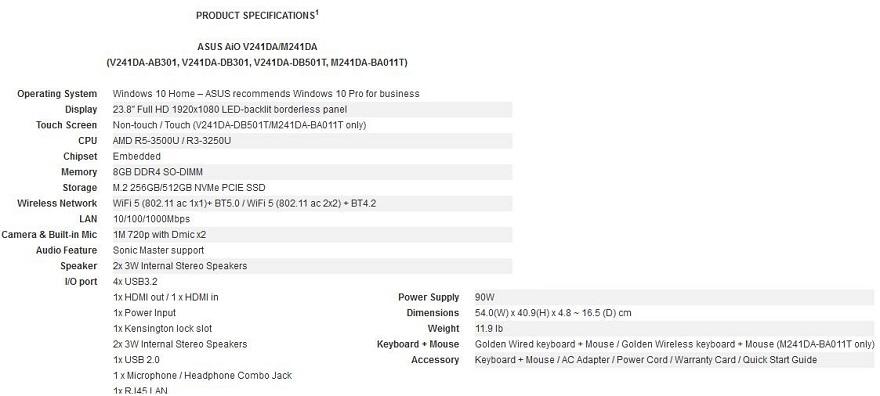 ASUS V241DA/M241DA All-in-One Desktop PCs