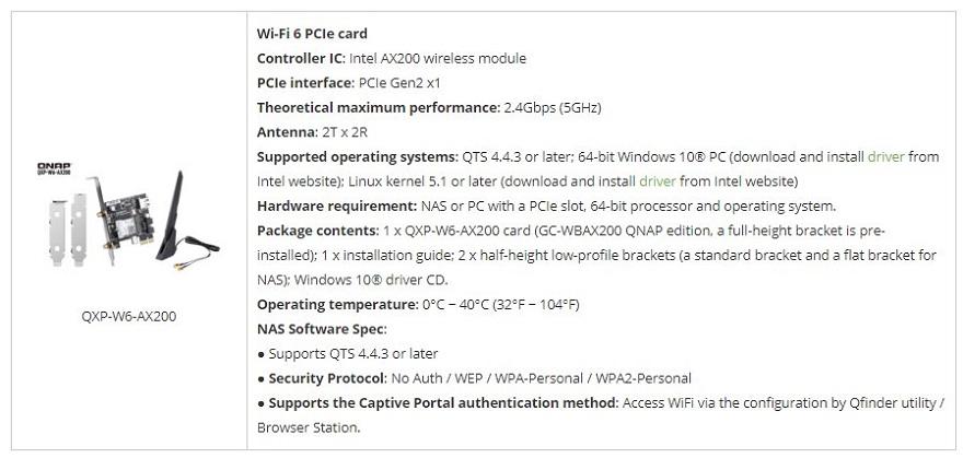 QNAP High-speed Dual-Band Wi-Fi 6 PCIe Card