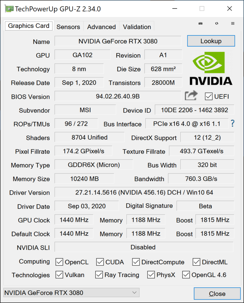 MSI 3080 GPUz Stock 1 1
