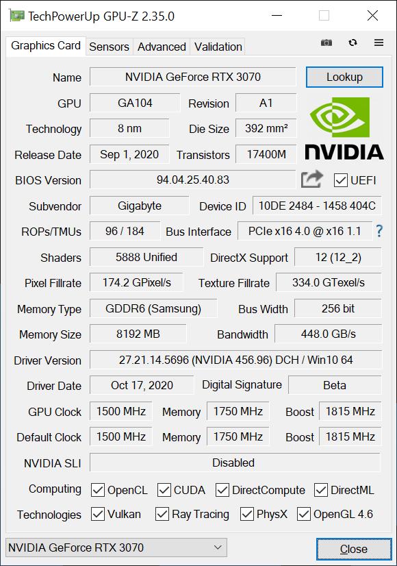 Gigabyte RTX 3070 Gaming OC