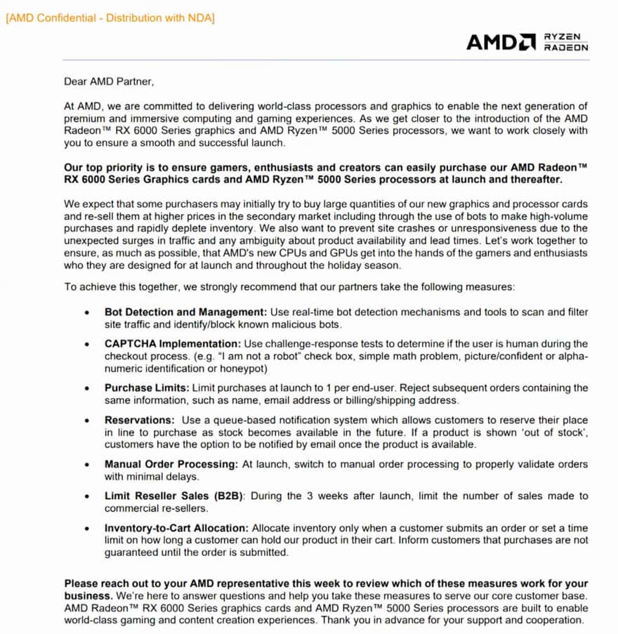 AMD Issues RX 6000 Scalping Advice to Retailers