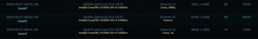 Nvidia RTX 3070 AotS Benchmark Leaked