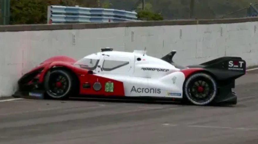 RoboRace automated race car crash