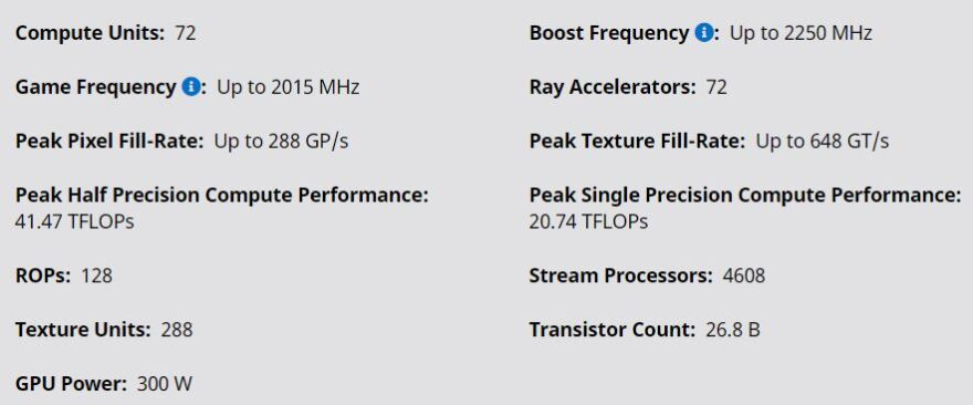 6800 xt specifications