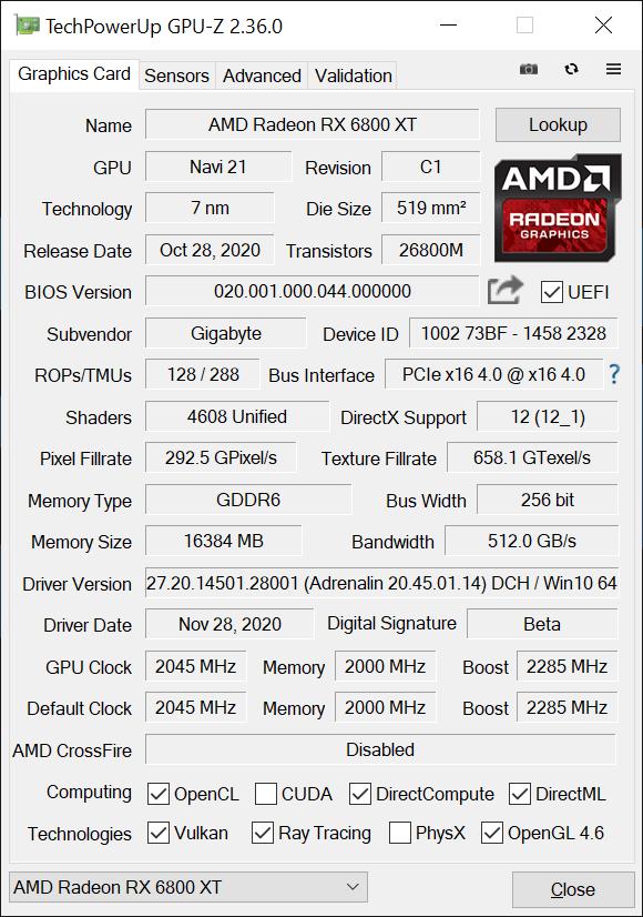 Gigabyte rx 6800 xt gaming oc GPUz