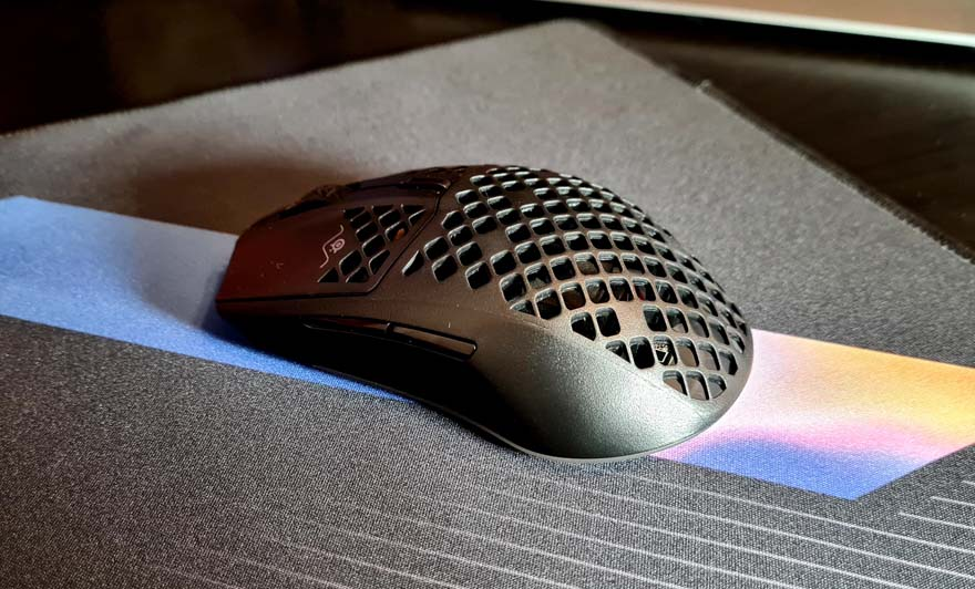 SteelSeries Aerox 3 Wireless Super Light Mouse Review back left