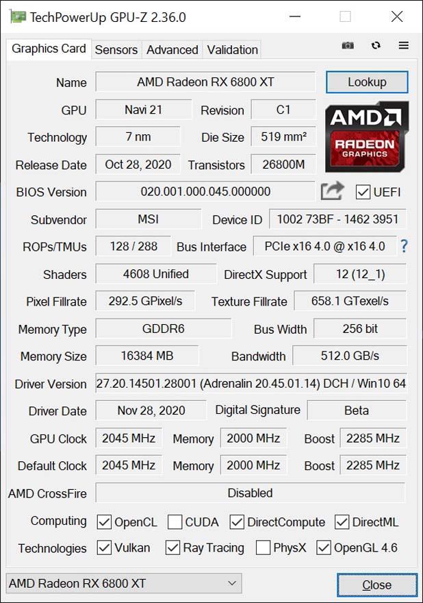 MSI RX 6800 XT GAMING X TRIO 16G Graphics Card cpu z
