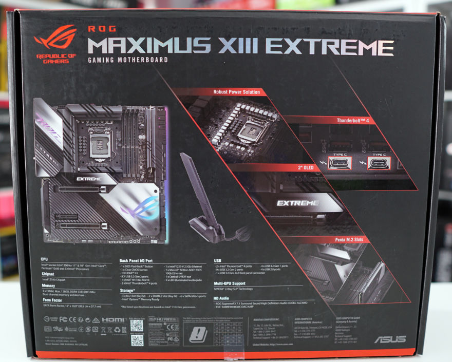 ASUS ROG MAXIMUS XIII EXTREME Motherboard box back