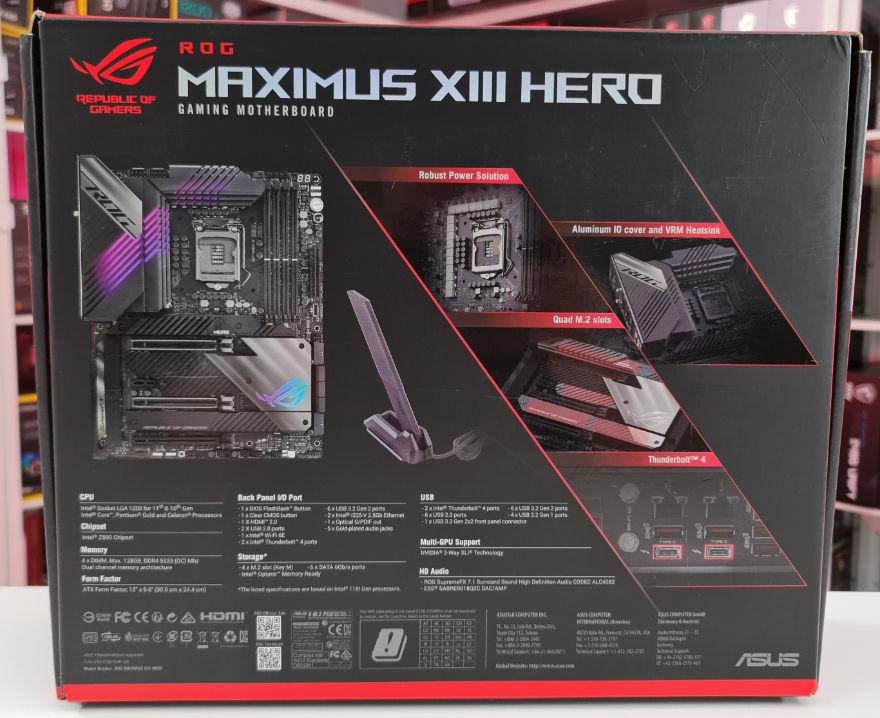 ASUS ROG MAXIMUS XIII Heor Motheboard box back