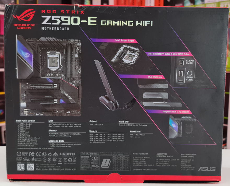 ASUS ROG STRIX Z590 E Gaming Wifi Motherboard box back