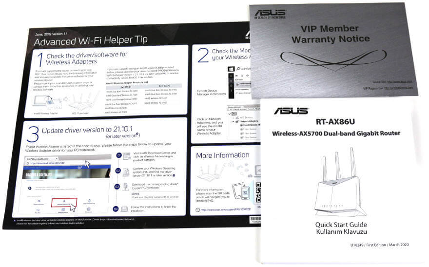 ASUS RT AX86U Photo accessories 3 notes