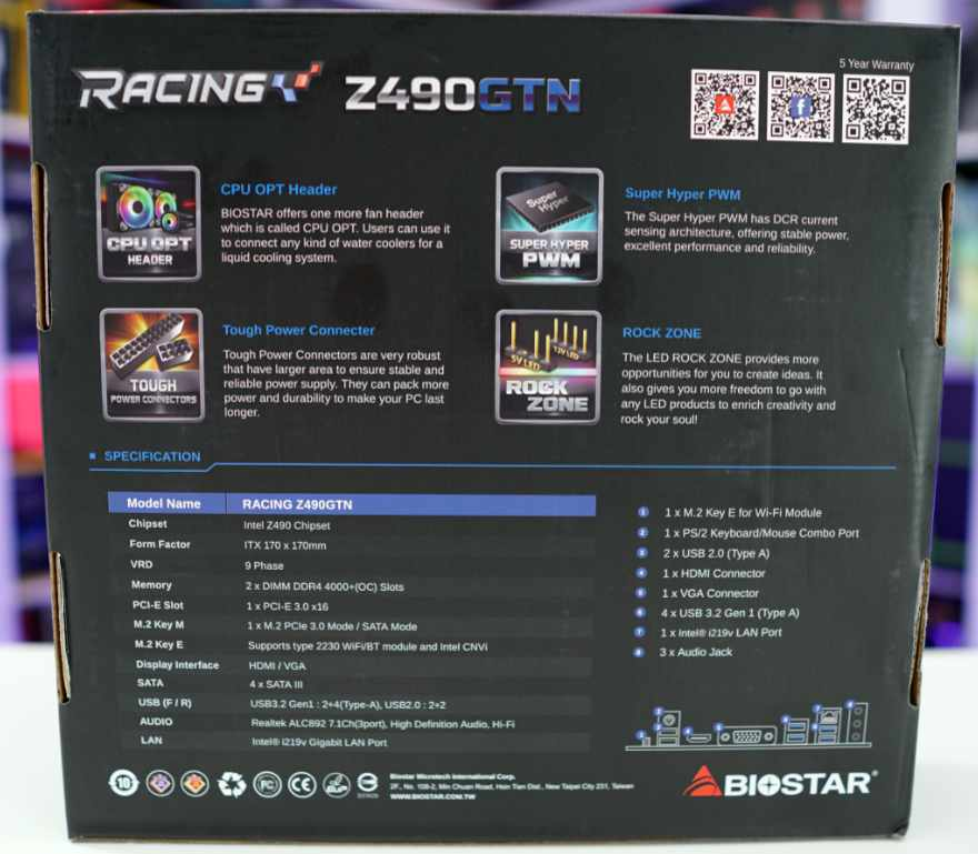 Biostar Racing Z490GTN Motherboard Box