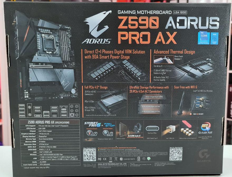Gigabyte Z590 AORUS PRO AX Motherboard box rear