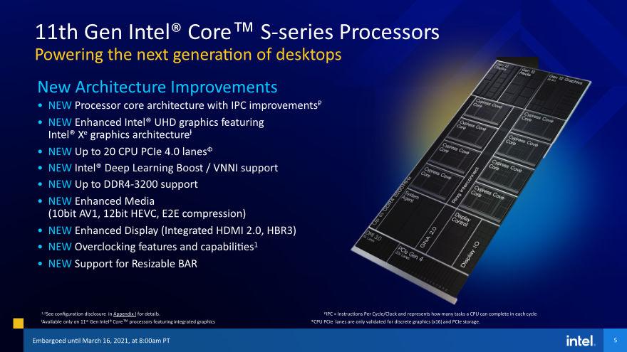 Intel 11th gen cpu s series