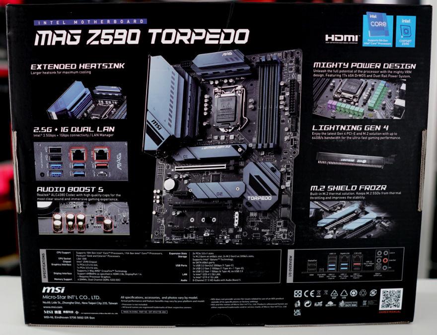 MSI MAG Z590 TORPEDO Motherboard box back