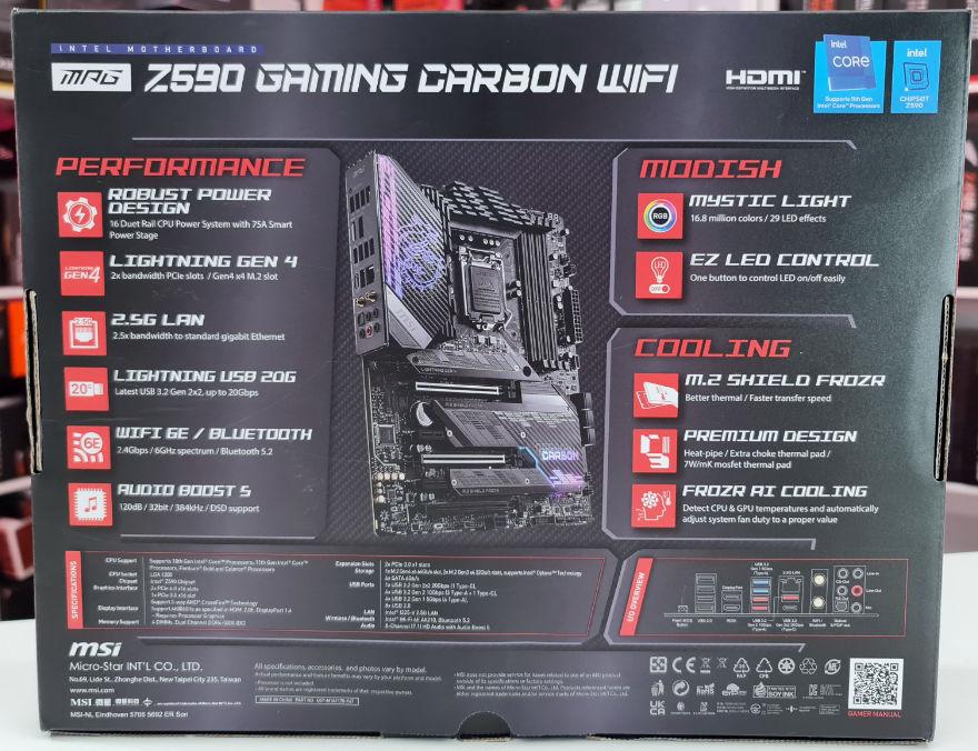 MSI MPG Z590 Gaming Carbon WiFi Motherboard box back