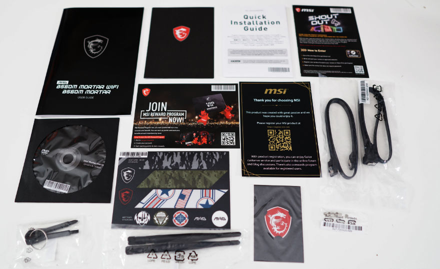MSI MAG B560M MORTAR WIFI Motherboard accessories and manuals