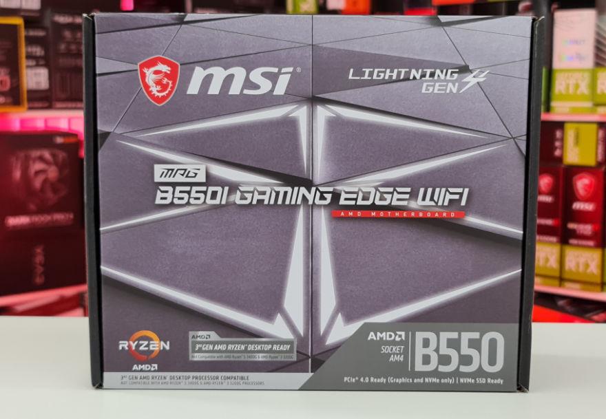 MSI MPG B550I Gaming Edge WIFI motherboard box