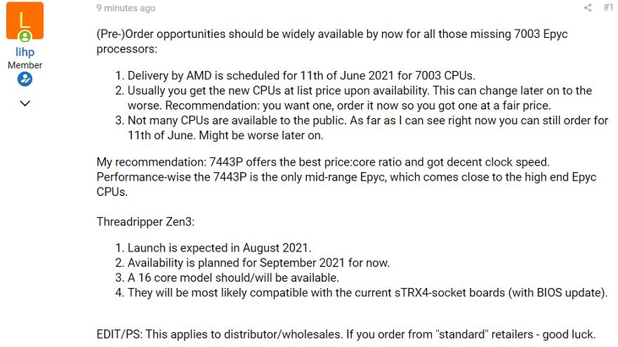 "AMD Threadripper ""Zen3"" CPUs Expected to Arrive in September"